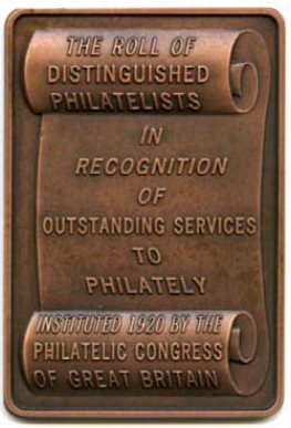 Copper scroll that reads, THE ROLL OF DISTINGUISHED PHILATELISTS IN RECOGNITION OF OUTSTANDING SERVICES TO PHILATELY INSTITUTED 1920 BY THE PHILATELIC CONGRESS OF GREAT BRITAIN